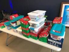 Packing Christmas presents for Operation Christmas Child